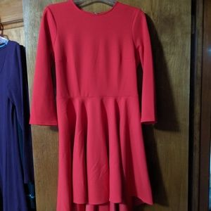 Express red fit and flare hi lo dress medium
